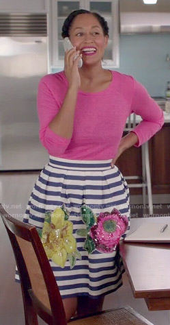 Rainbow's pink top and striped and floral skirt on Black-ish