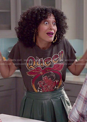 Rainbow's Queen tee and green leather midi skirt on Black-ish