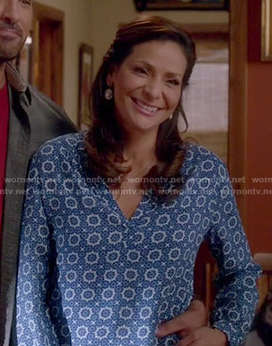 Regina's blue printed blouse on Switched at Birth