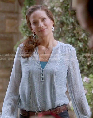 Regina's blue blouse on Switched at Birth