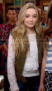 Maya's white lace ruffled top on Girl Meets World