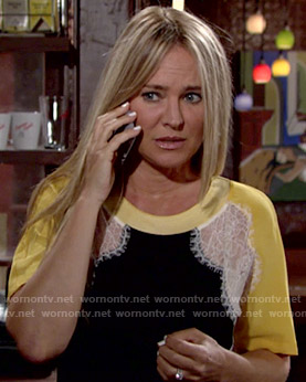 Sharon's lace top with yellow sleeves on The Young and the Restless