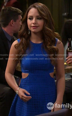 Sofia's blue eyelet dress with cutouts on Young and Hungry
