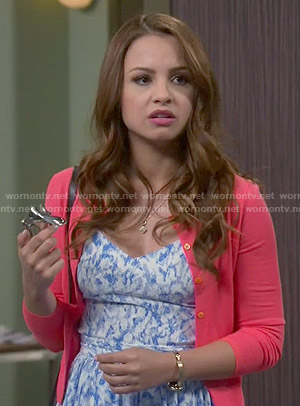 Sofia's blue printed dress on Young and Hungry