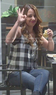 Sofia's gingham checked tank top on Young and Hungry