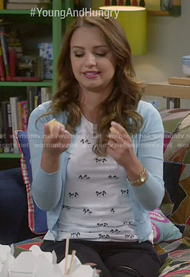 Sofia's palm tree print tee and blue cardigan on Young and Hungry
