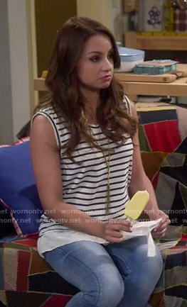 Sofia's striped sleeveless top on Young and Hungry
