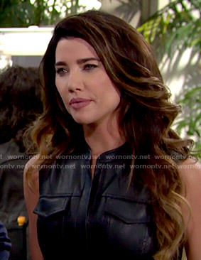 Steffy's black leather shirtdress on The Bold and the Beautiful