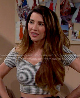 Steffy's checked off-shoulder crop top on The Bold and the Beautiful