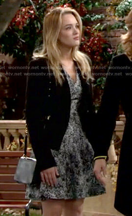 Summer's black and white printed v-neck dress on The Young and the Restless
