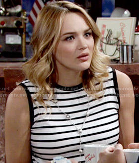 Summer's black and white striped sleeveles top on The Young and the Restless