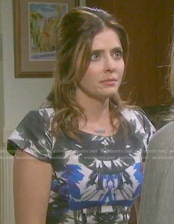 Theresa's blue and black floral fit and flare dress on Days of our Lives