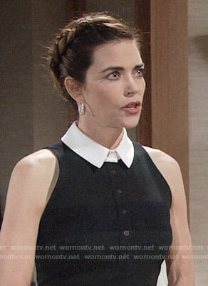 Victoria's dark striped dress with white collar on The Young and the Restless
