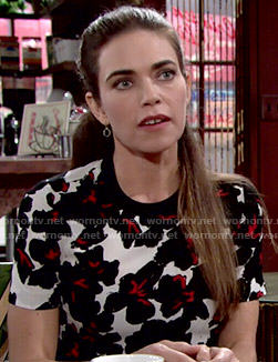 Victoria's black and white floral top on The Young and the Restless