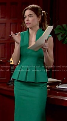 Victoria's green peplum dress on The Young and the Restless