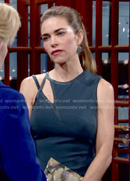 Victoria's teal dress with cutout neckline on The Young and the Restless