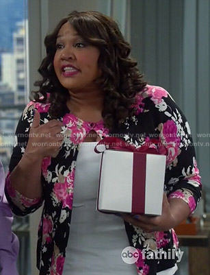 Yolanda's black and pink floral cardigan on Young and Hungry