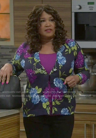 Yolanda's purple and blue floral cardigan on Young and Hungry