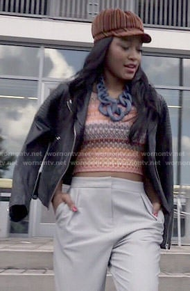 Zayday's crochet crop top and leather jacket on Scream Queens
