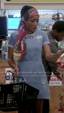 Zayday's distressed denim dress on Scream Queens