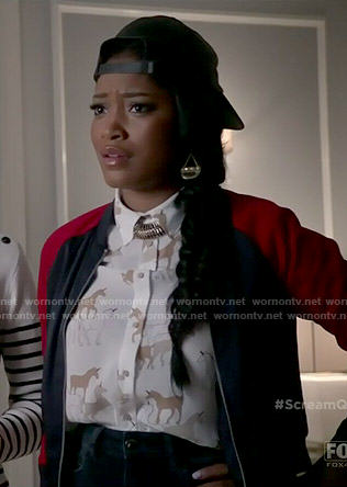 Zayday's unicorn print shirt on Scream Queens