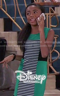 Zuri's green striped panel dress on Jessie