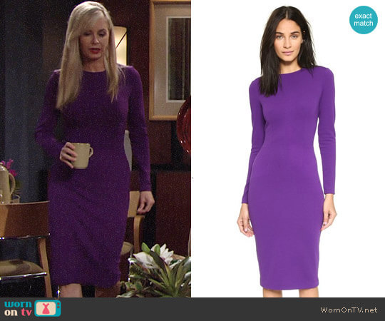 5th & Mercer Long Sleeve Dress in Purple worn by Ashley Abbott (Eileen Davidson) on The Young & the Restless