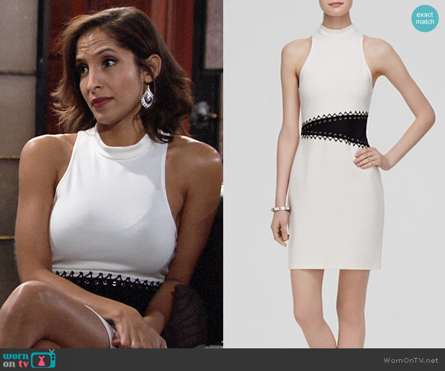 ABS By Allen Schwartz Color Block Ponte Dress worn by Christel Khalil on The Young & the Restless