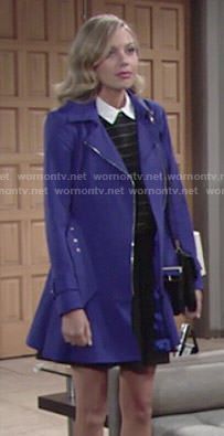 Abby's blue flared hem coat on The Young and the Restless