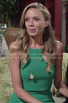 Abby's green two-piece dress on The Young and the Restless
