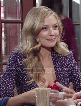 Abby's blue tile print blazer on The Young and the Restless