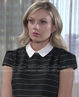 Abby's black striped top with white collar on The Young and the Restless