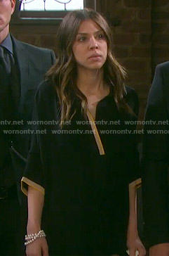 Abigail's black dress with cream trim on Days of our Lives
