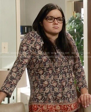 Alex's blue and red printed top on Modern Family