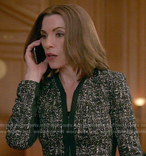 Alicia's black tweed jacket on The Good Wife