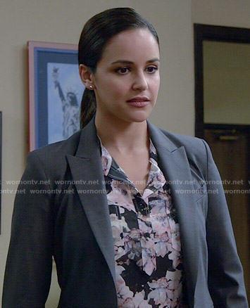 Amy's black floral blouse on Brooklyn Nine-Nine