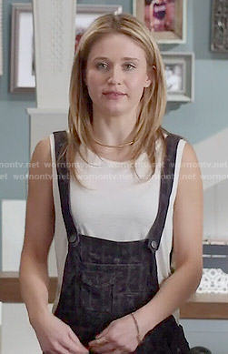 Amy's denim overalls on Faking It