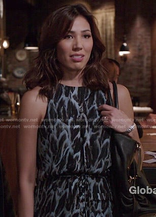 Angela's feather print dress on Bones