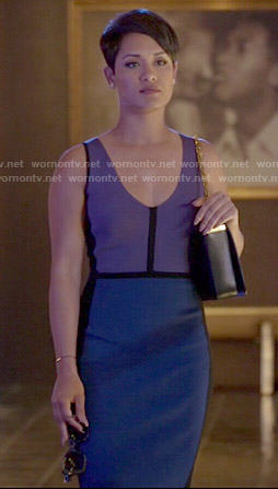 Anika's purple and blue colorblock dress on Empire