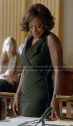 Annalise's black sleeveless dress on How to Get Away with Murder