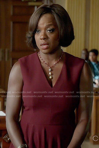 Annalise's burgundy v-neck fit and flare dress on How to Get Away with Murder