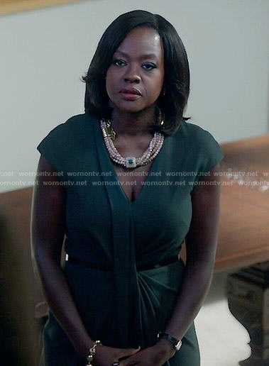Annalise's dark green draped front dress on How to Get Away with Murder