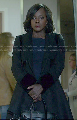 Annalise's black a-line coat on How to Get Away with Murder