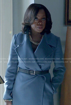 Annalise's blue wrap coat on How to Get Away with Murder