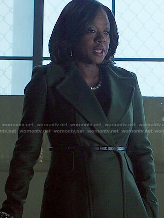 Annalise's dark green coat on How to Get Away with Murder