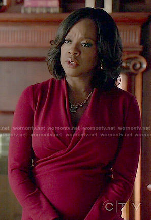 Annalise's red wrap front dress on How to Get Away with Murder