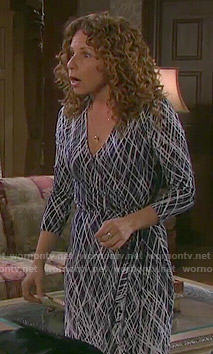 Anne's navy and white printed wrap dress on Days of our Lives
