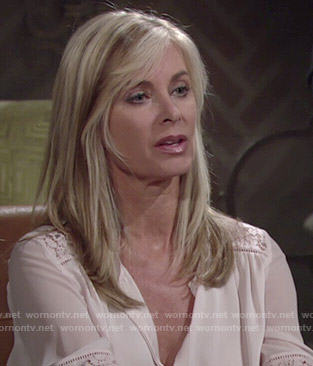 Ashley's blush lace inset blouse on The Young and the Restless