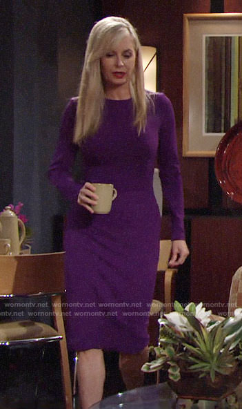 Ashley's purple long sleeved dress on The Young and the Restless