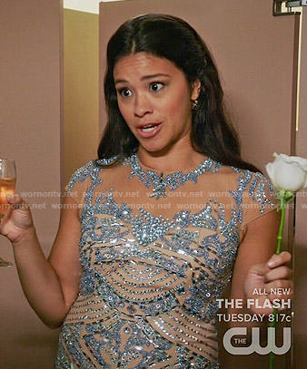 Bachelorette Jane's blue beaded dress on Jane the Virgin